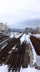 View of Takayama Station. There's a Hida Express