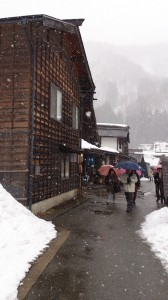 Despite the snow, there's a crowd in the village
