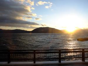 Sunset as the bus passes Nenokuchi