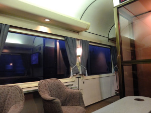 Lounge car in the early morning