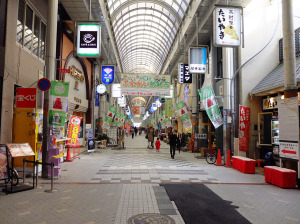 Shopping arcade leads all the way to the castle