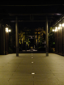 Railway shrine at night