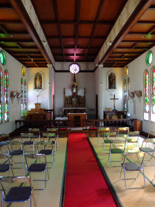 Church with tatami mats. There's a wedding today so chairs were placed